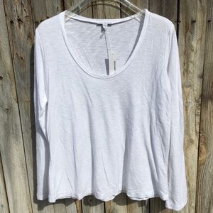 NWT James Perse White Scoop Neck Long Sleeve Tee M